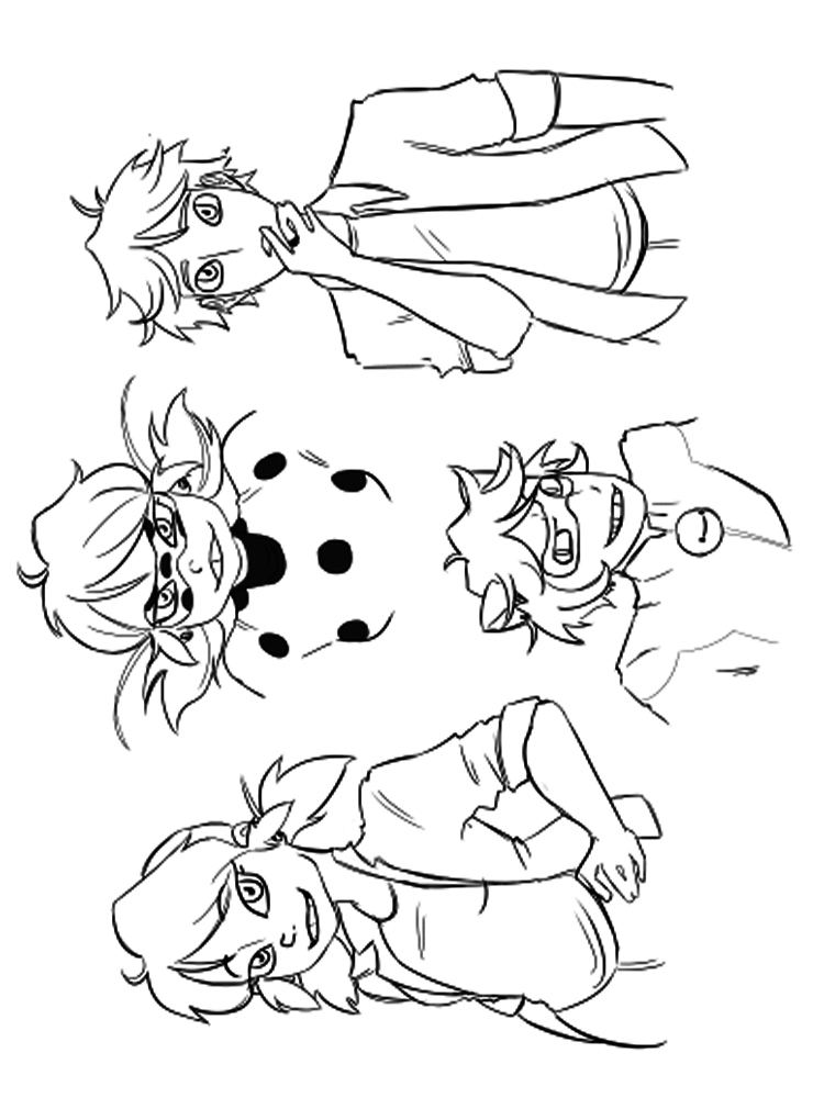 Раскраски Леди Баг и Супер кот - распечатать в формате А4