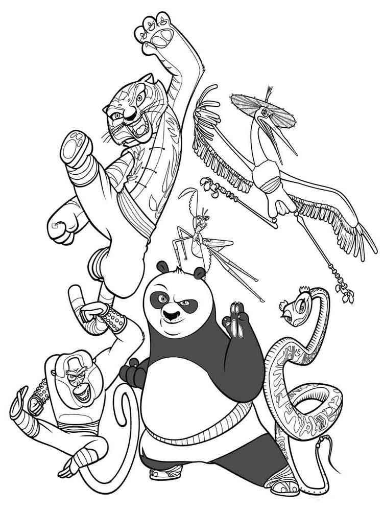 Раскраска панду кунфу