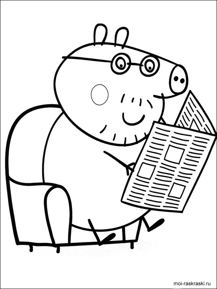 Раскраска свинка пеппа папа свин 85