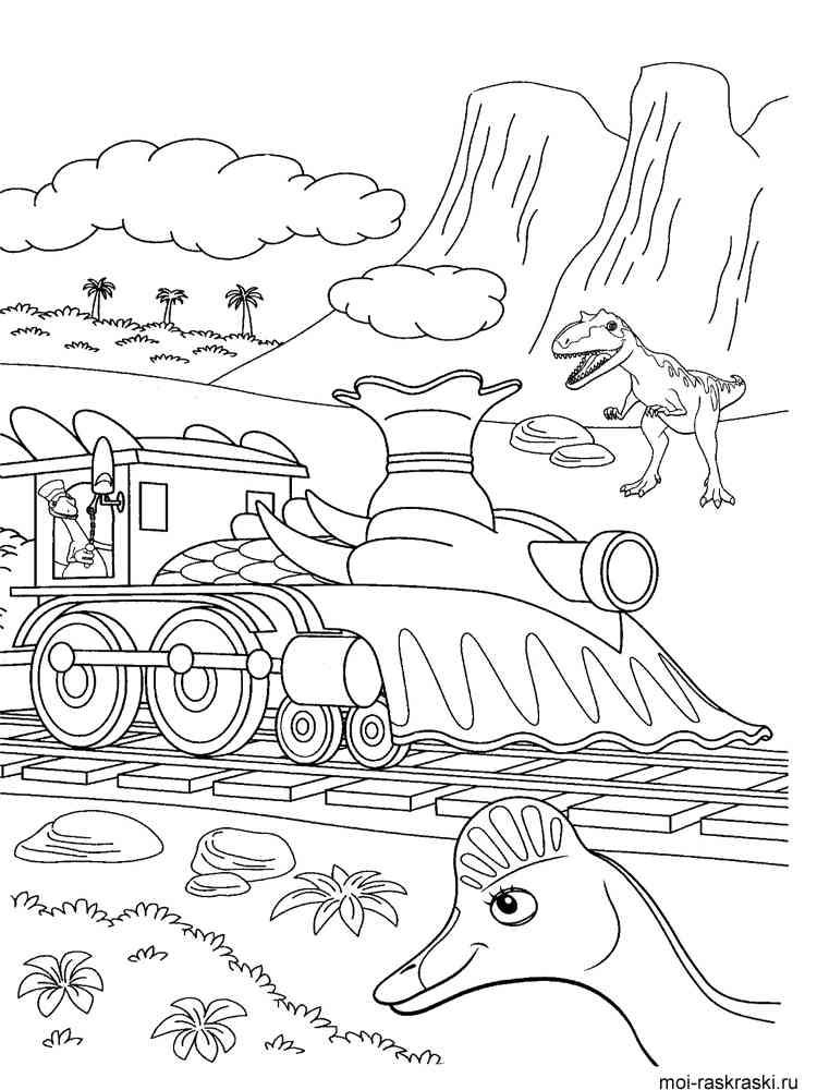 раскраски из мультфильма поезд динозавров скачать и