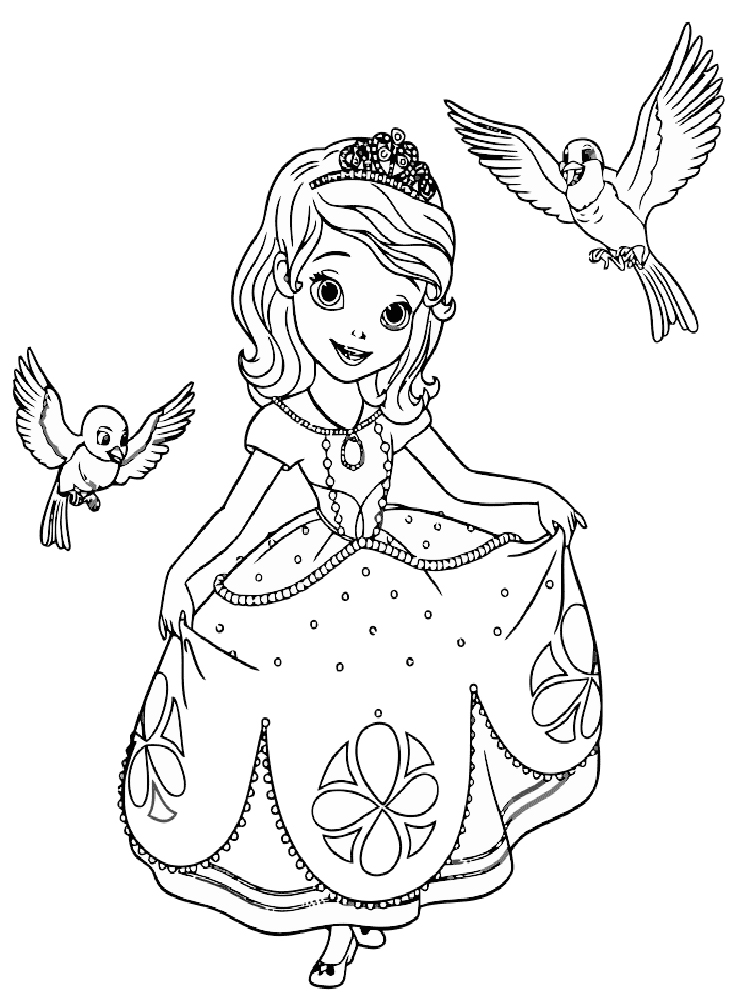 Раскраска Принцесса София - распечатать в формате А4