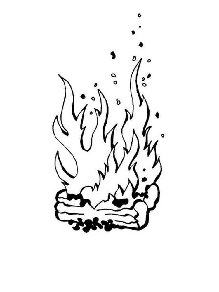 рисунок огня в камине трафарет уже