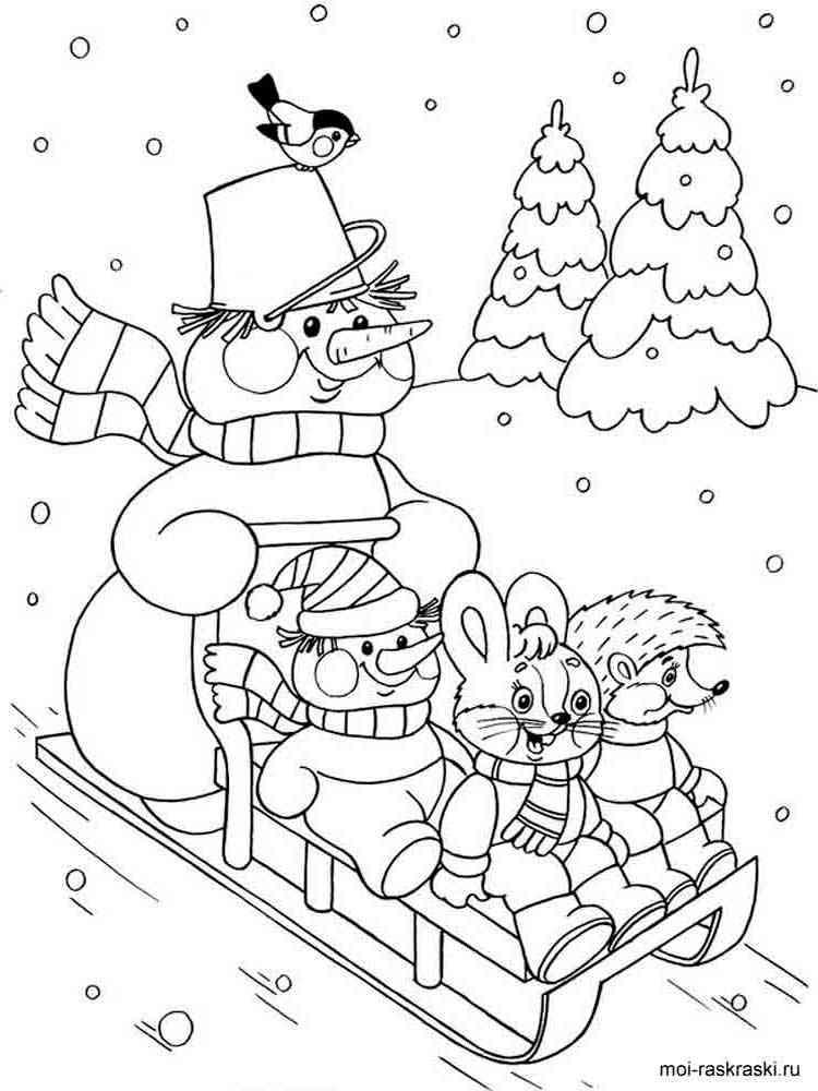 Распечатать раскраски зима бесплатно в