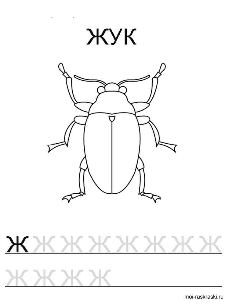 Раскраска Буква Ж - распечатать в формате А4