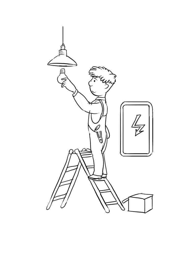 Раскраски Электрик - распечатать в формате А4