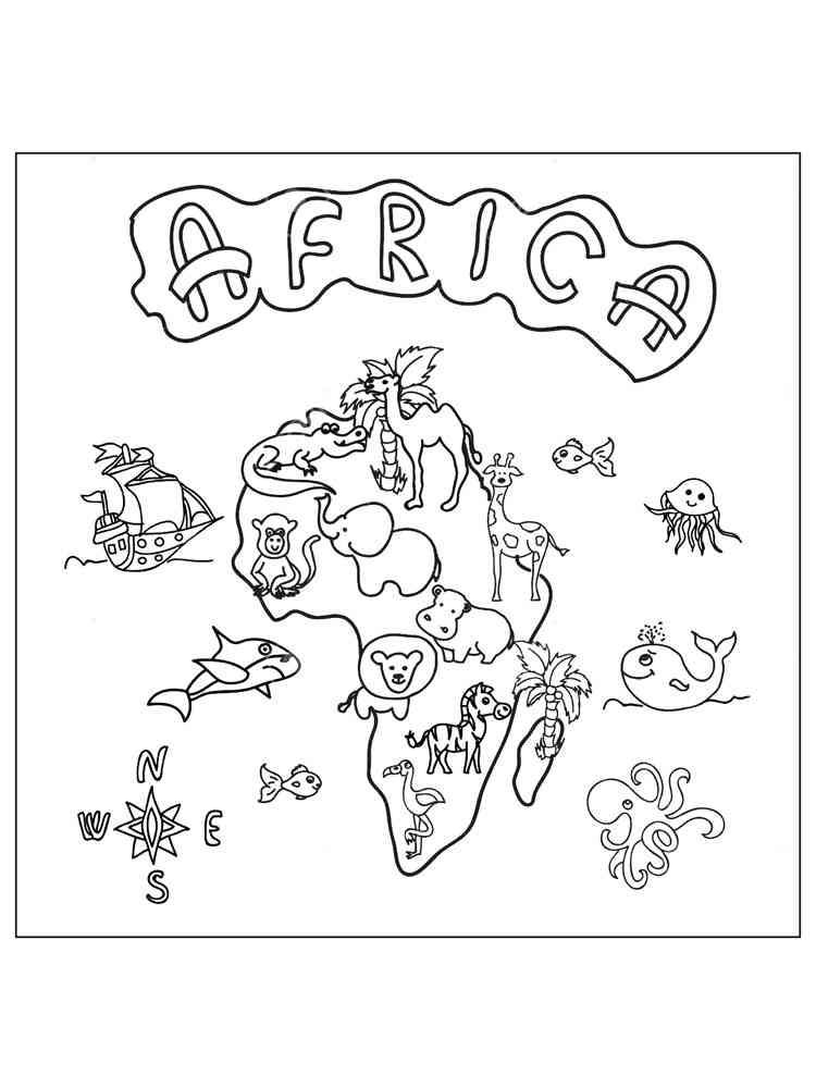 Картинки африки на карте раскраски