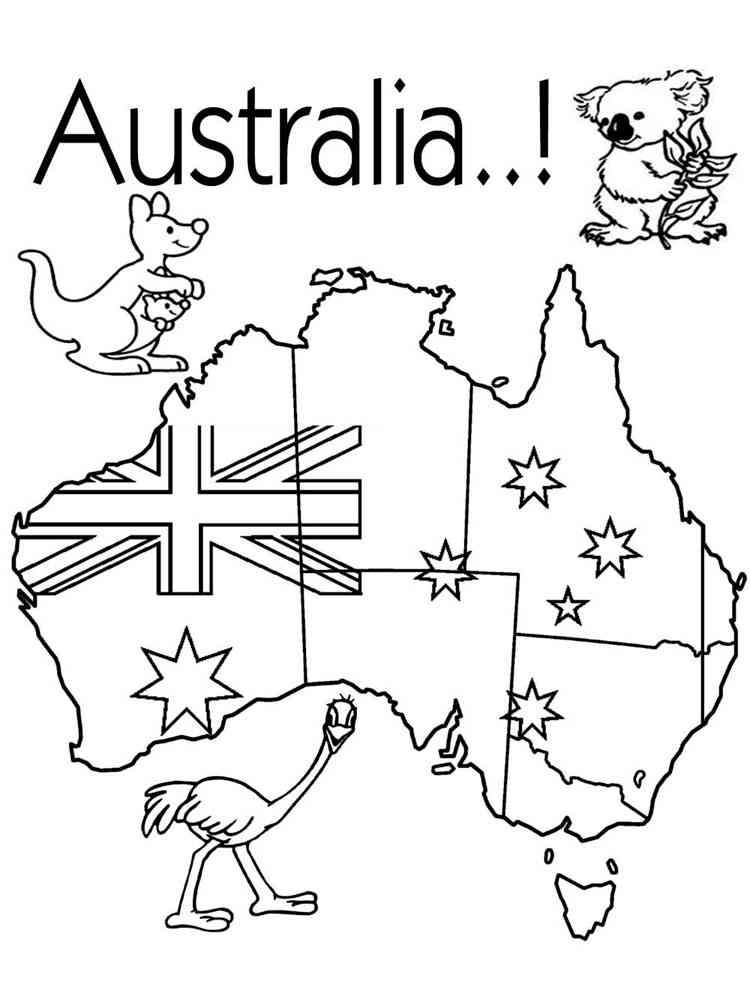 Австралия картинка для детей раскраска