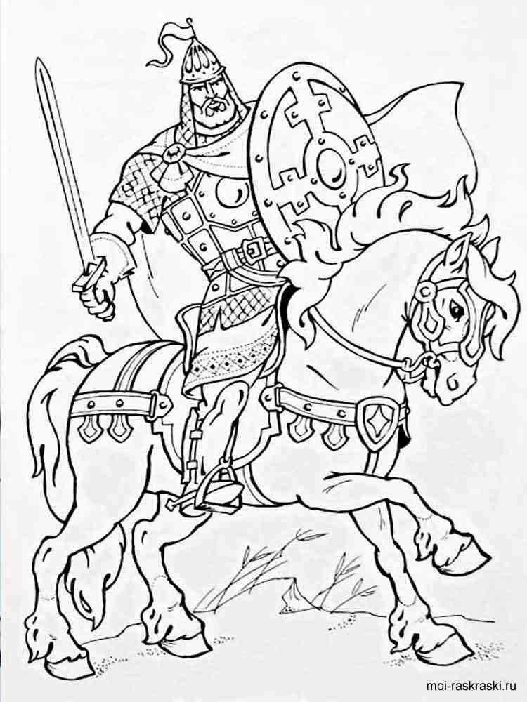 Три богатыря черно белый рисунок