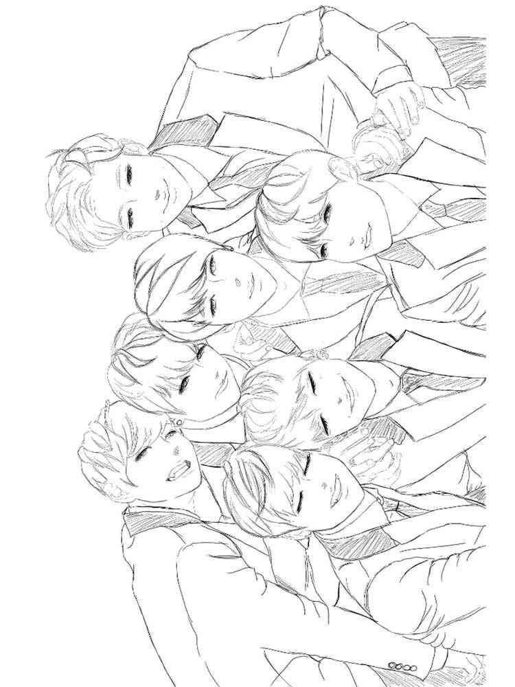 Раскраски БТС (BTS) - распечатать в формате А4