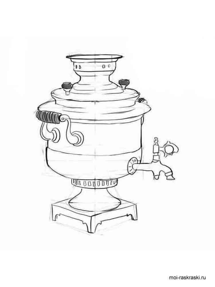 Раскраска Самовар - распечатать в формате А4