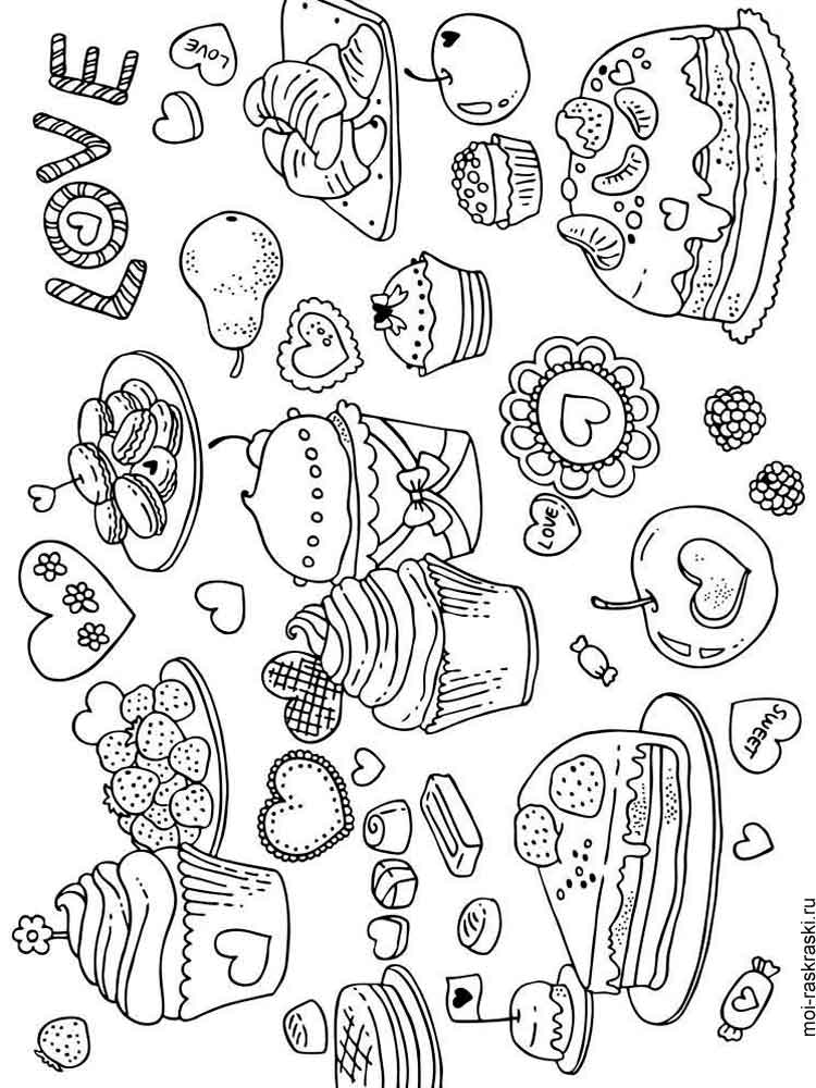 раскраска сладости скачать и распечатать раскраски сладости