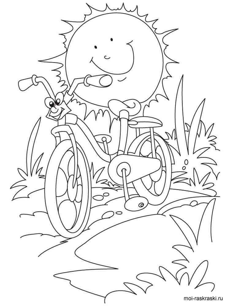Раскраска Велосипед - распечатать в формате А4