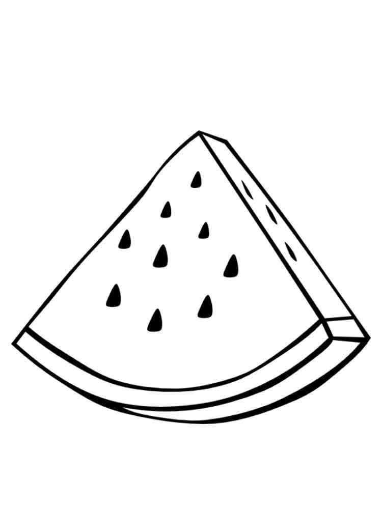 Кусок арбуза раскраска