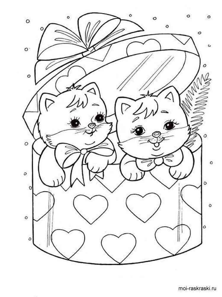 Раскраски для малышей с котятами