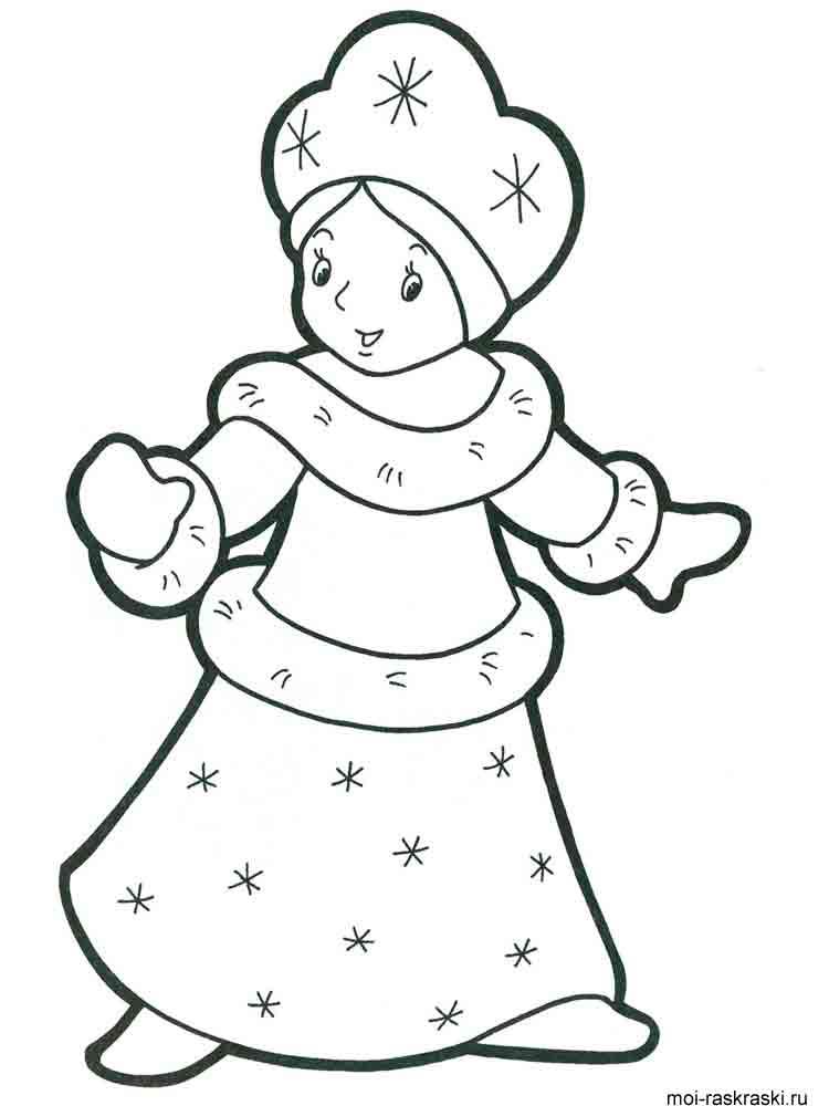 Картинка раскраска снегурочки