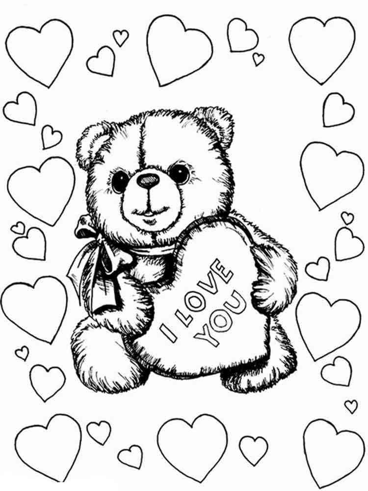 Раскраски Валентинки - распечатать в формате А4