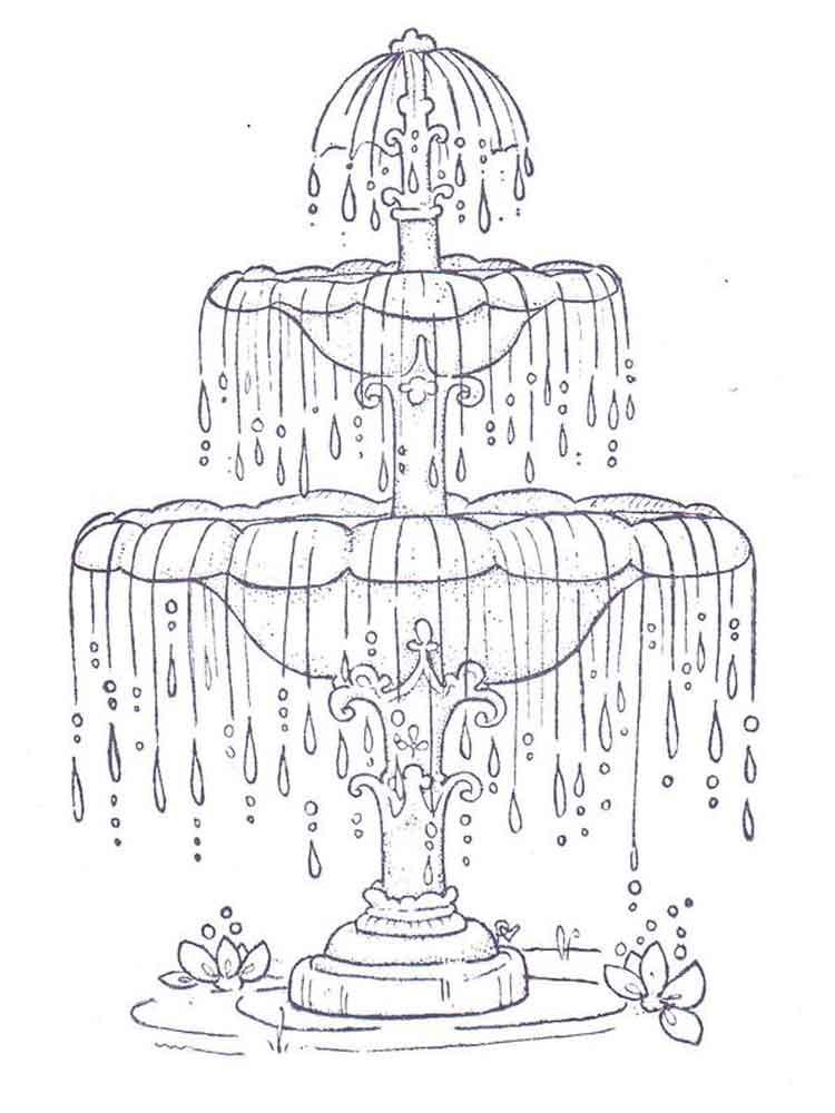 Красивые рисунки фонтанов