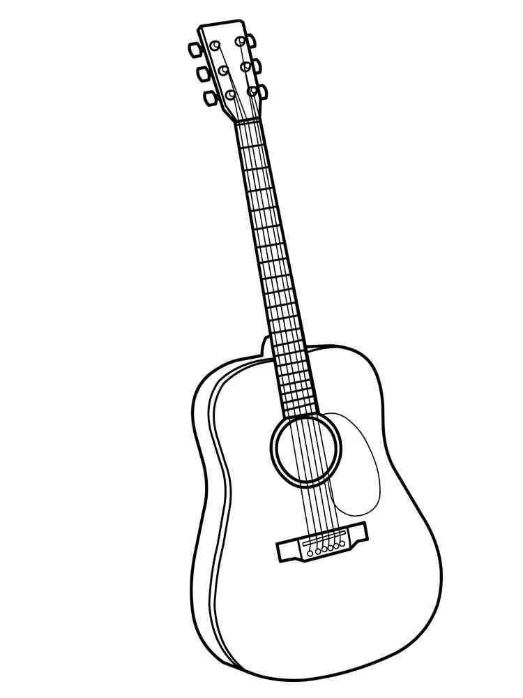 Раскраски Гитара - распечатать в формате А4
