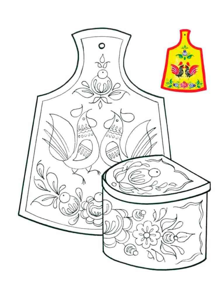 Раскраски Городецкая роспись - распечатать в формате А4