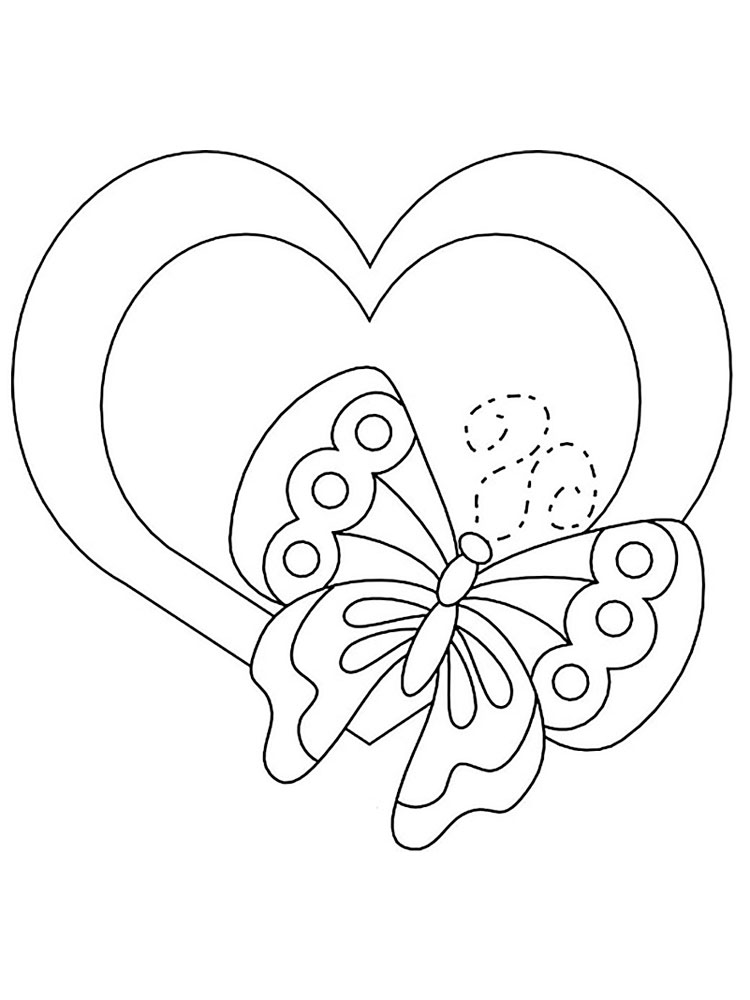 Для срисовки, раскраски открытки сердечки