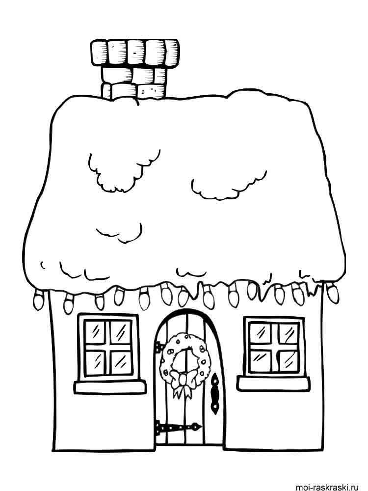 Раскраска новогодние домики