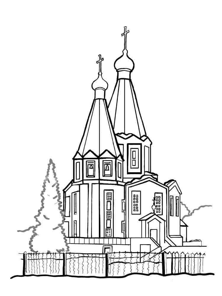 Раскраски Храм - распечатать в формате А4