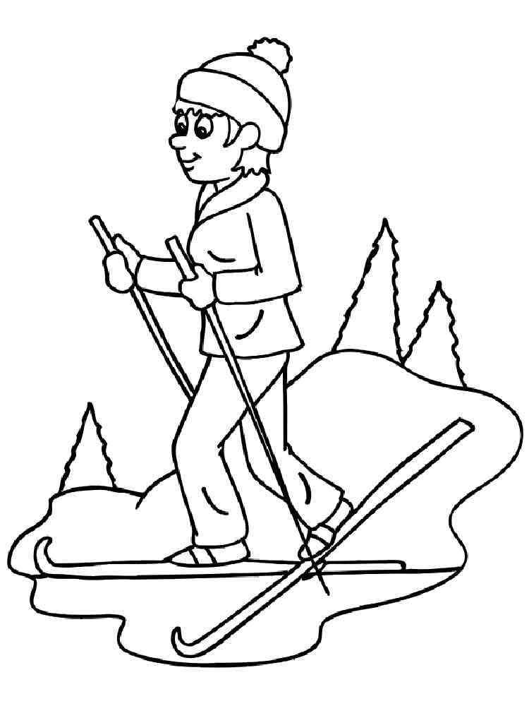 Раскраски Лыжи - распечатать в формате А4