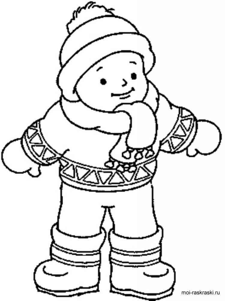 Раскраска кукла в зимней одежде