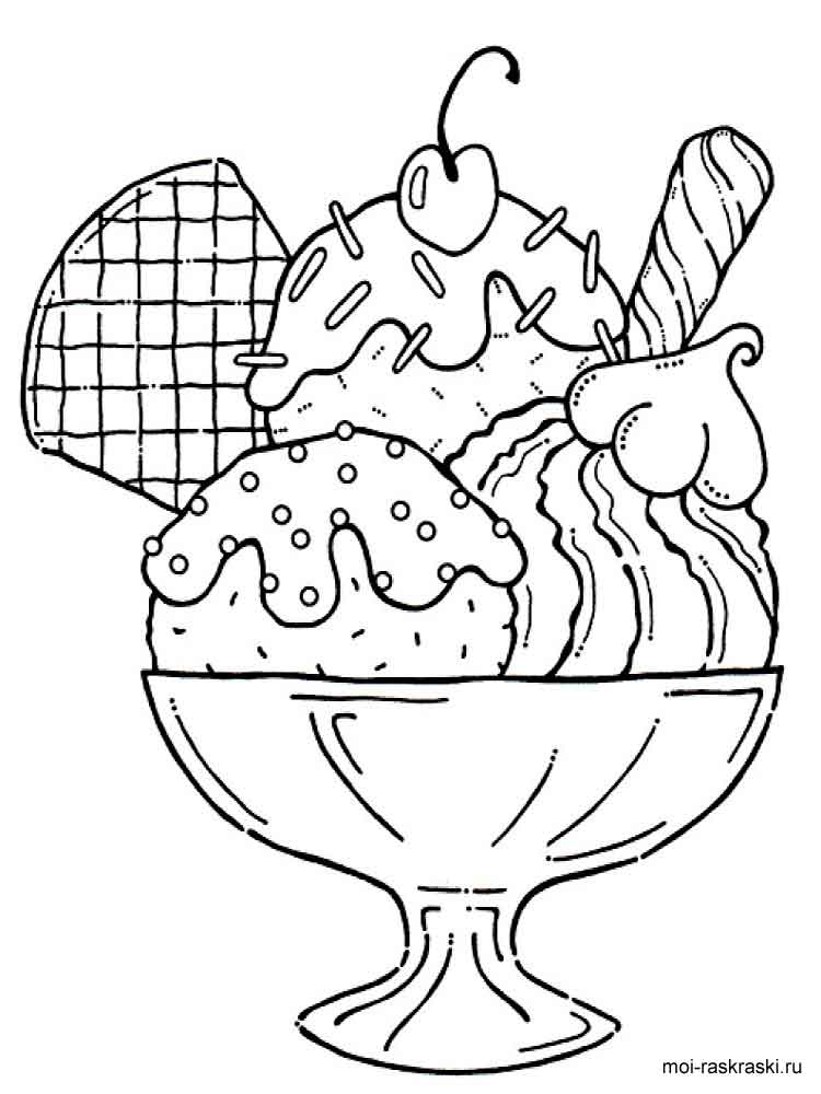 Десерт раскраска