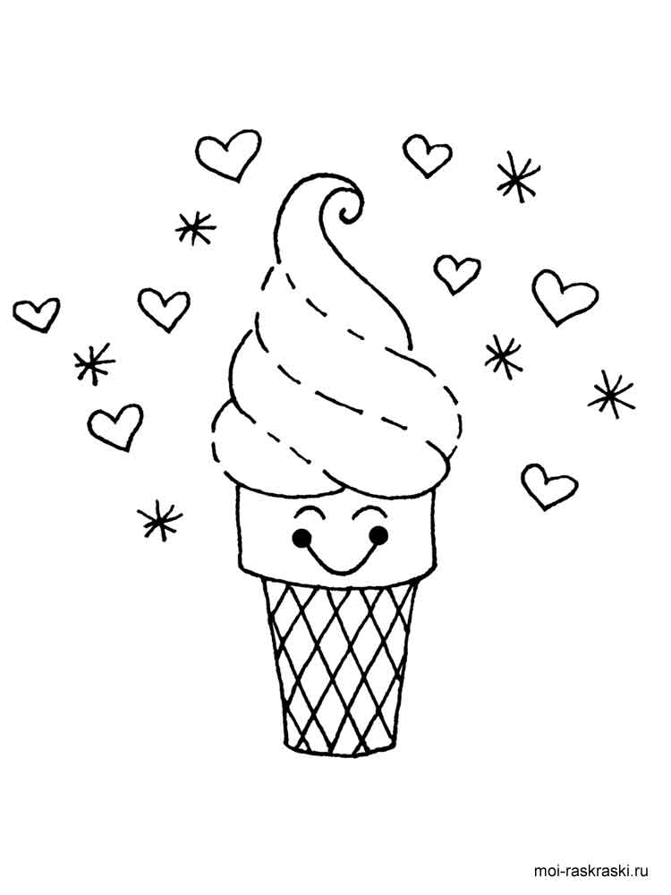 Раскраска Мороженое - распечатать в формате А4