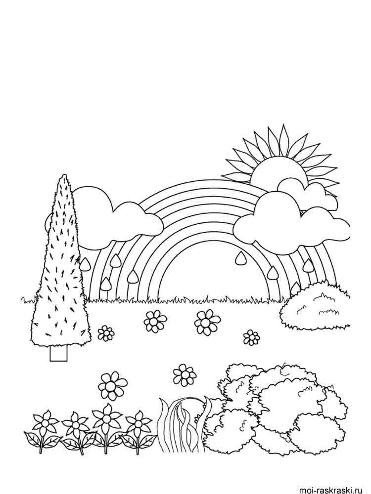 Раскраски Радуга - распечатать в формате А4