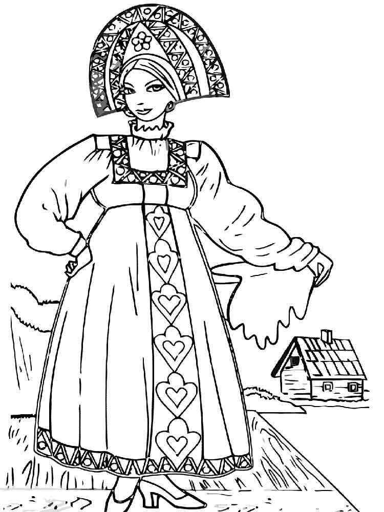 Русские народные костюмы рисунок простой лагеря работают