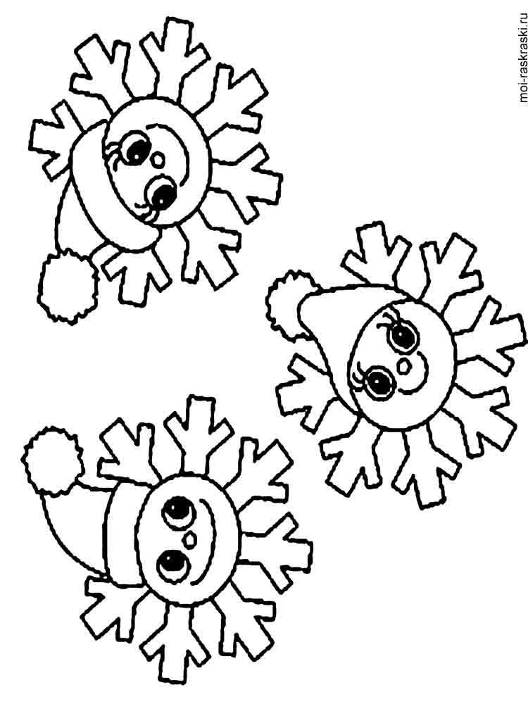 Снежинки раскраски для детей - 5