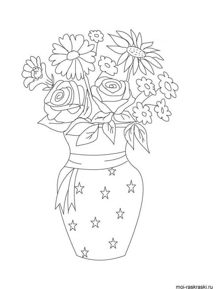Распечатать раскраску вазу с цветами
