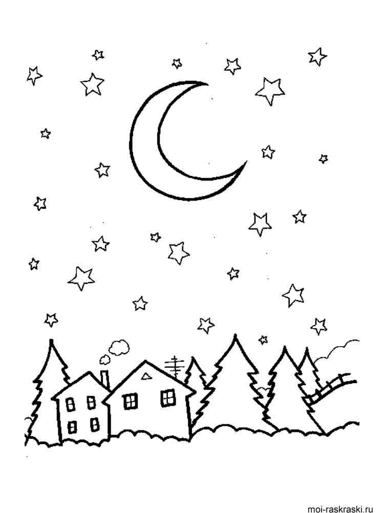 Ночное небо раскраски