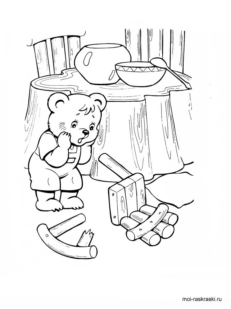 Раскраска сказка три медведя распечатать