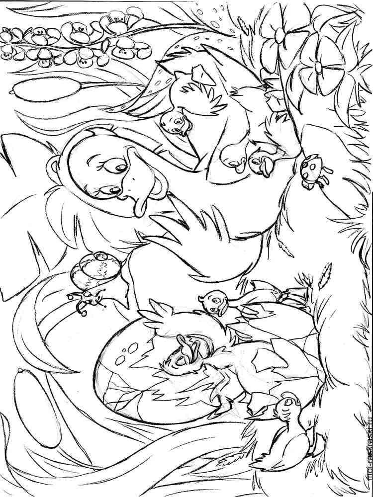 Раскраска из сказки Гадкий утенок - распечатать в формате А4
